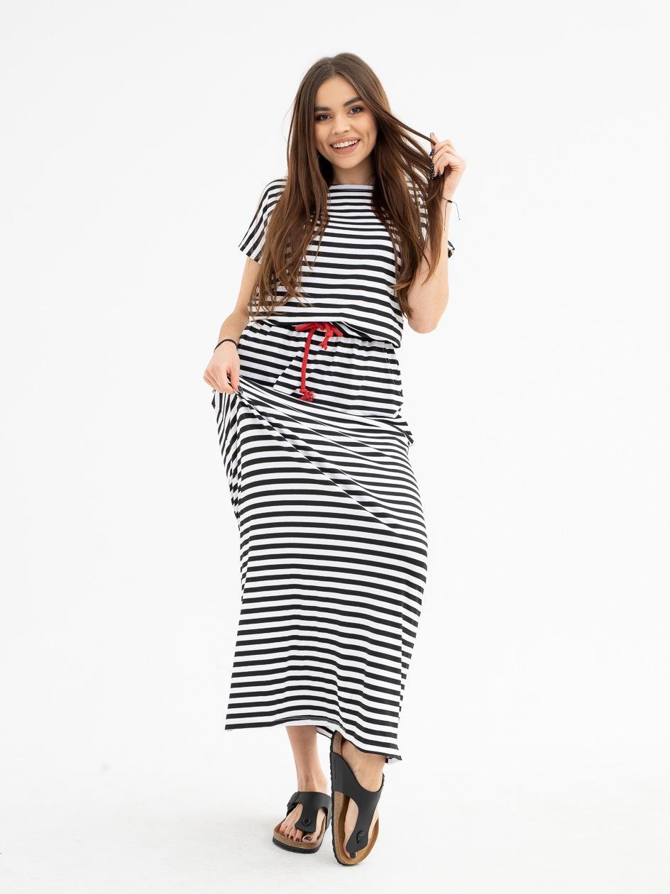 Sukienka Maxi Point X Stripe Czarna / Biała