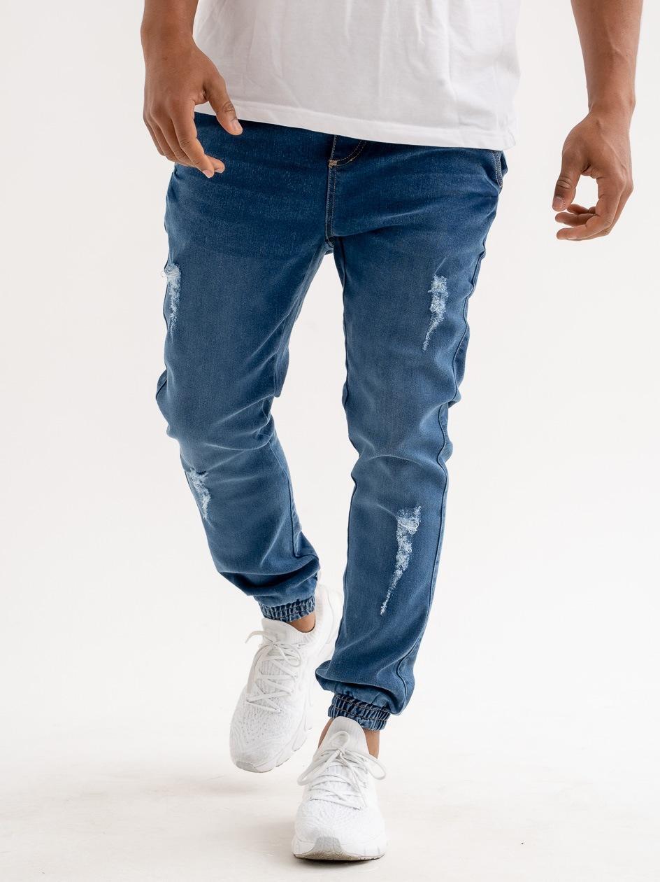 Spodnie Jeansowe Jogger Moro Sport Big Paris Classic Pocket Niebieskie Z Uszkodzeniami