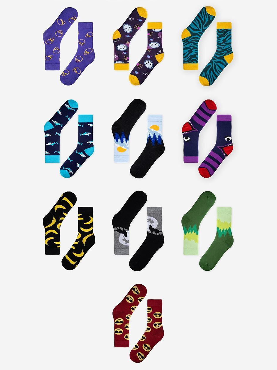 Zestaw 10 Par Skarpet MyStars x Blind Box Socks Set Mix 6 Wielokolorowe