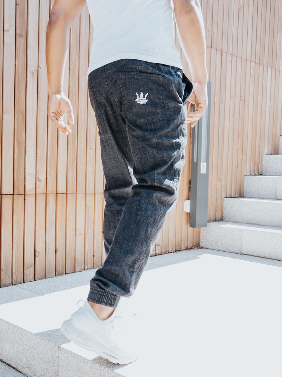 Spodnie Jeansowe Jogger Jigga Wear Crown Streak Ciemne Niebieskie