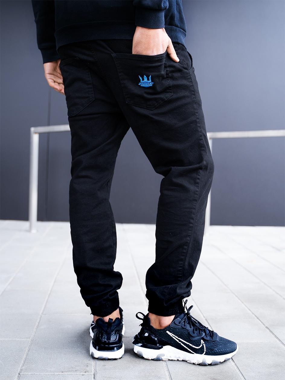Spodnie Jogger Jigga Crown Stitch Czarne / Niebieskie