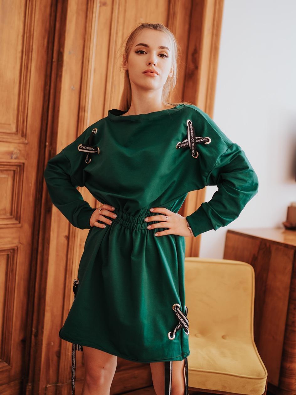 Sukienka Midi Z Długim Rękawem Point X Tapes Zielona