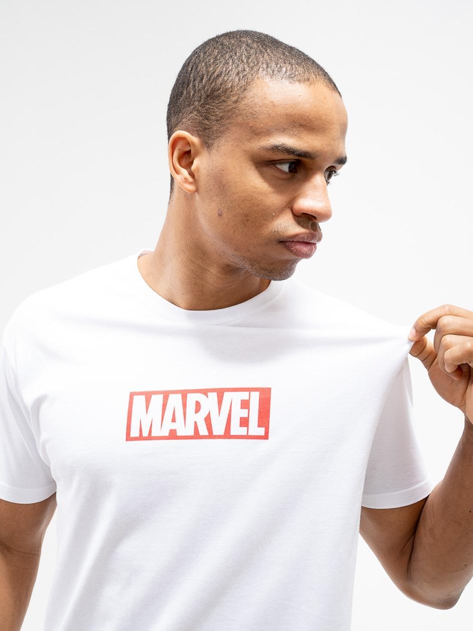 Koszulka Z Krótkim Rękawem Marvel Comics Front Logo Biała