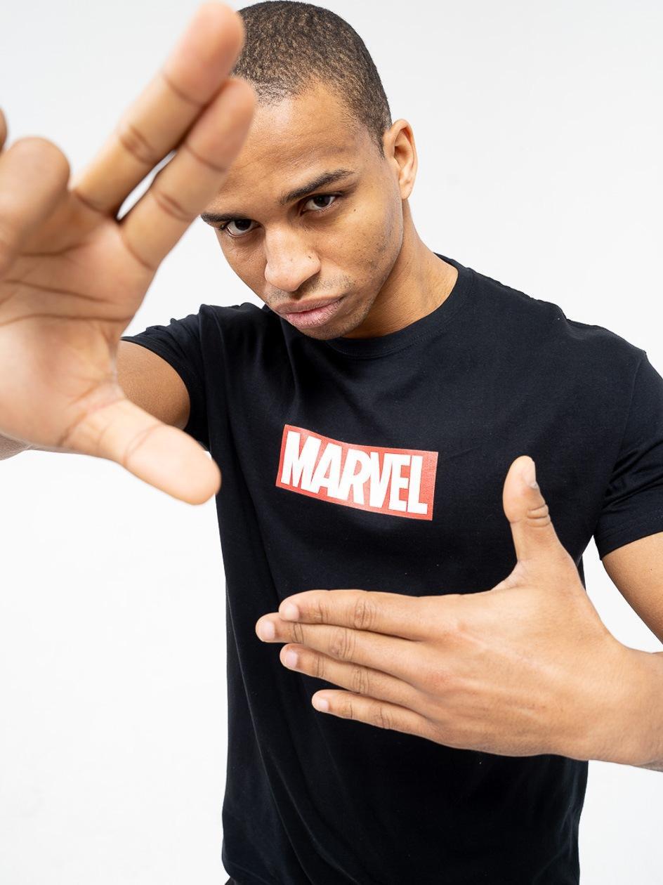 Koszulka Z Krótkim Rękawkiem Marvel Comics Front Logo Czarna