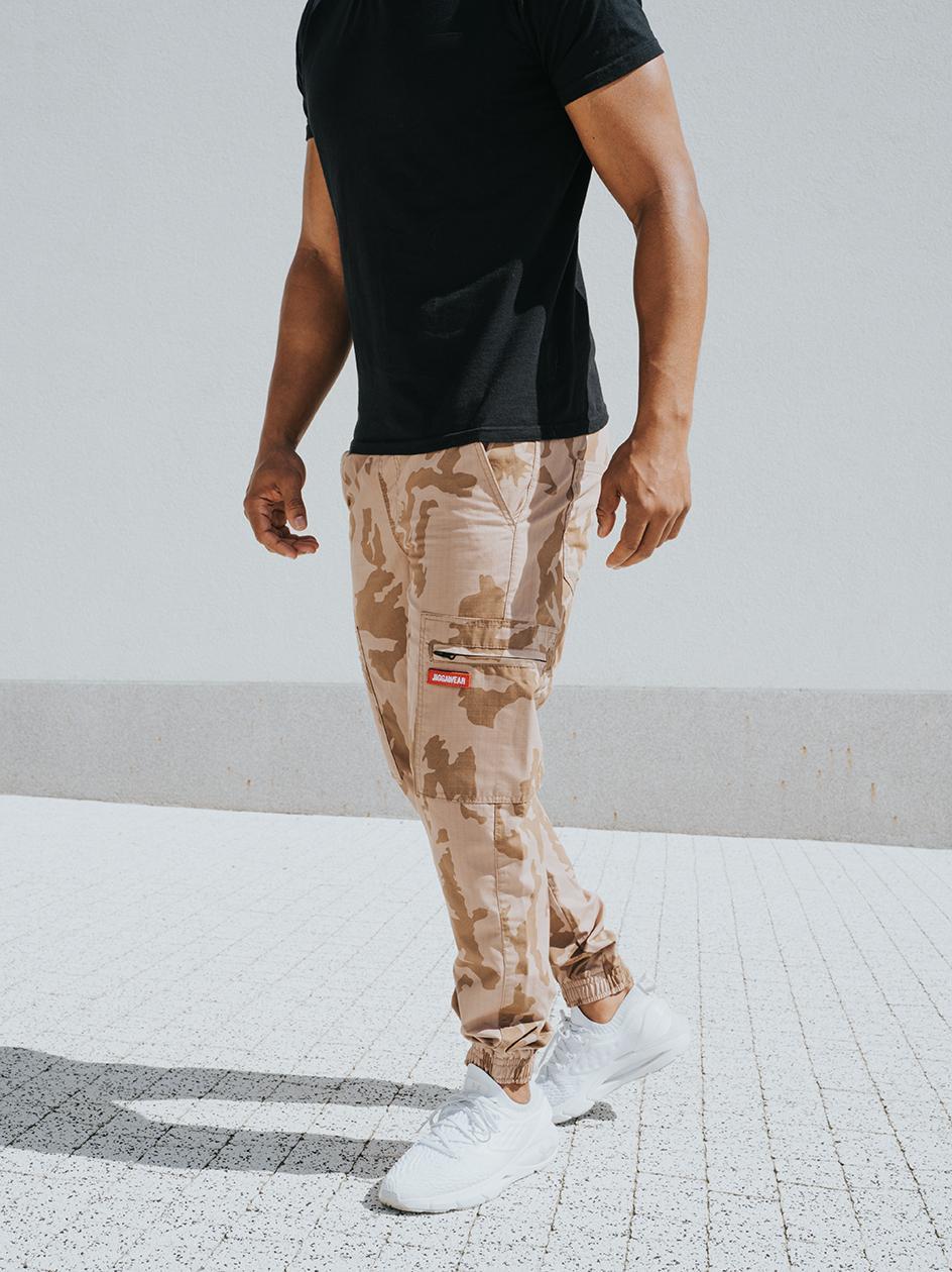 Spodnie Materiałowe Jogger Bojówki Ripstop Jigga Wear Stripe Crown Zip Cargo Desert Camo