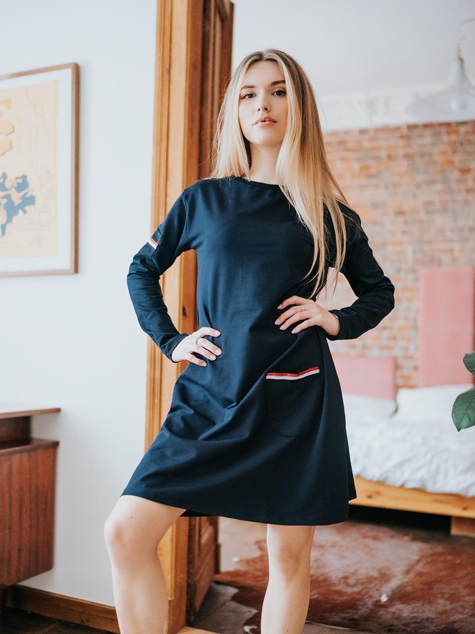 Sukienka Midi Z Długim Rękawem Point X Pocket Granatowa