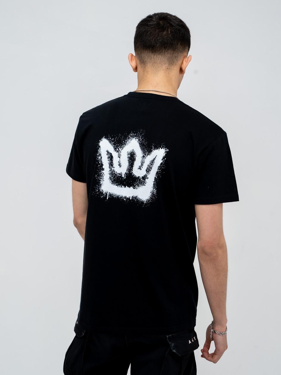 Koszulka Z Krótkim Rękawem Jigga Spray Crown Czarna / Biała