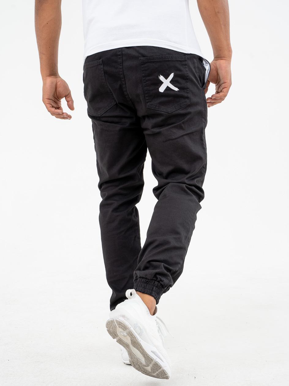 Spodnie Materiałowe Jogger Point X Pocket Czarne / Białe