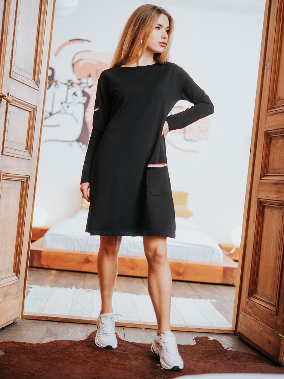 Sukienka Midi Z Długim Rękawem Point X Pocket Czarna