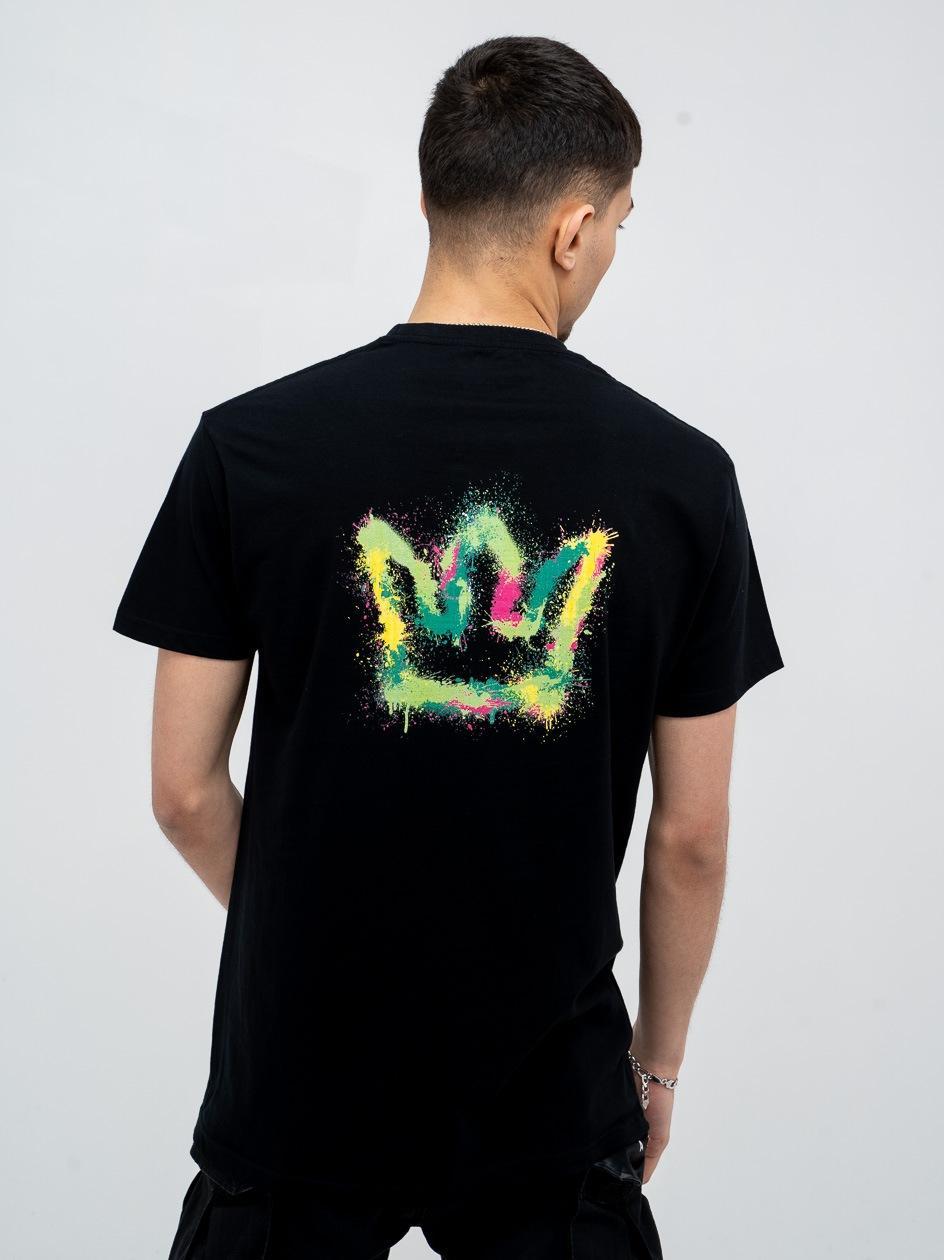 Koszulka Z Krótkim Rękawem Jigga Spray Crown Czarna/ Wielokolorowa
