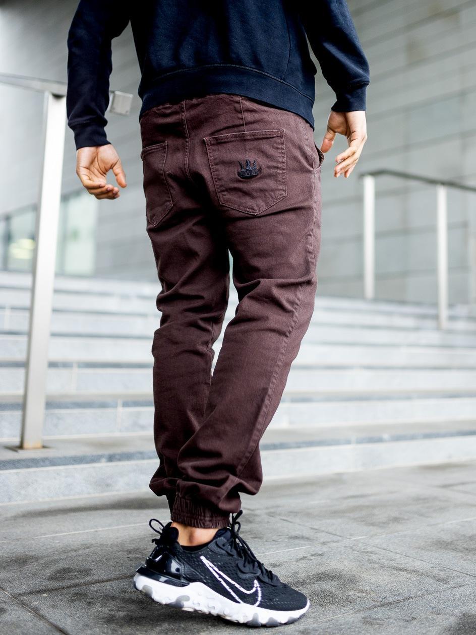 Spodnie Materiałowe Jogger Jigga Crown Stitch Brązowe / Czarne