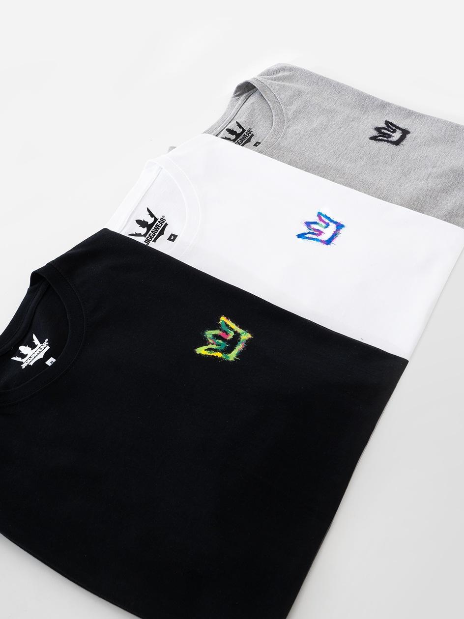 Zestaw 3 T-Shirtów Jigga Wear Mini Spray Czarna / Biała / Szara