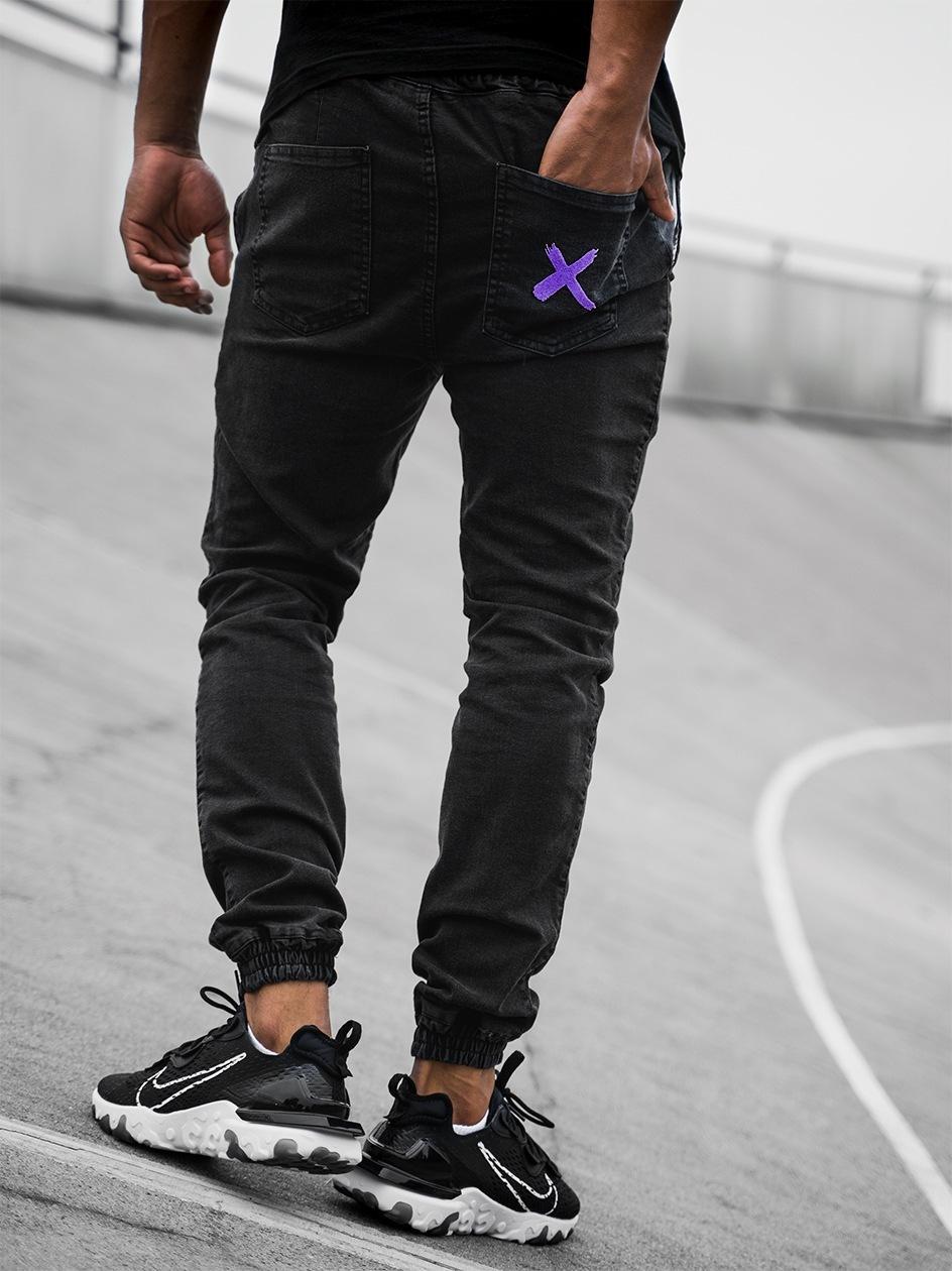 Spodnie Jeansowe Jogger Point X Pocket Stitch Czarne / Fioletowe