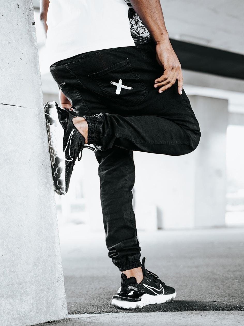 Spodnie Jeansowe Jogger Point X Pocket Stitch Czarne / Białe