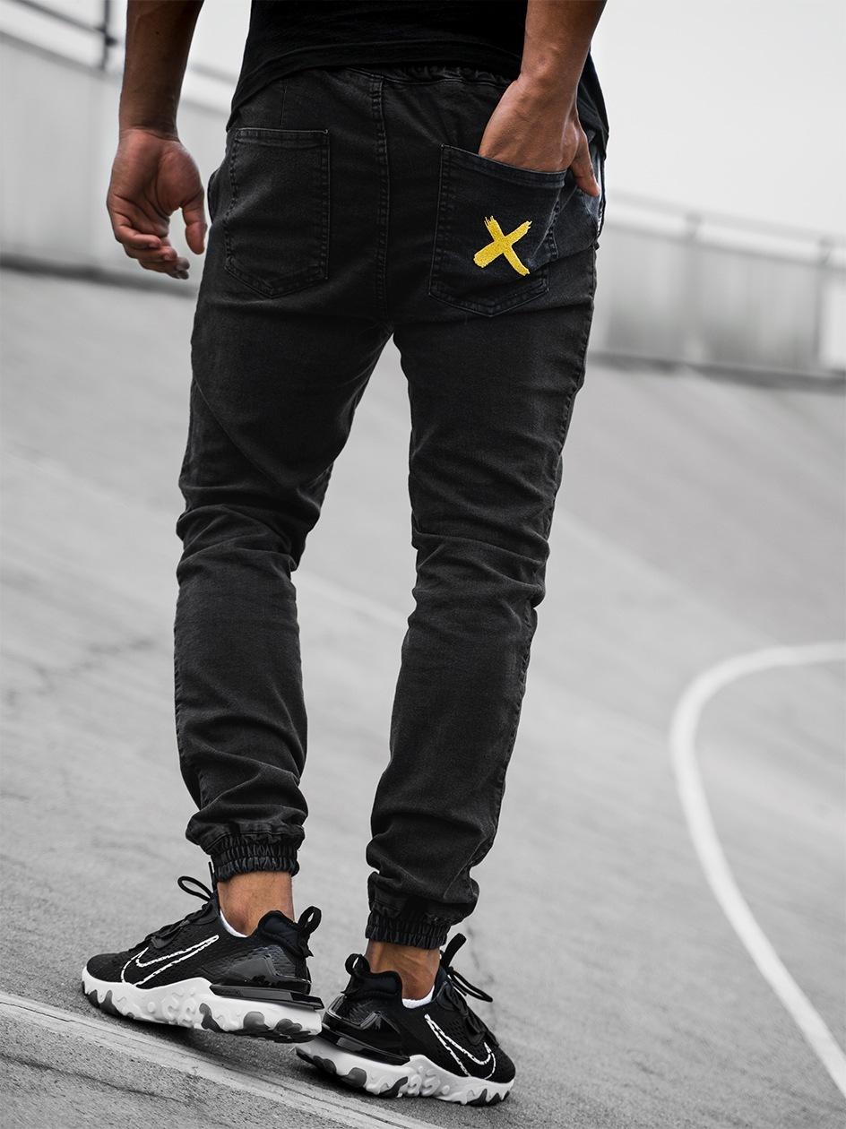 Spodnie Jeansowe Jogger Point X Pocket Stitch Czarne / Złote