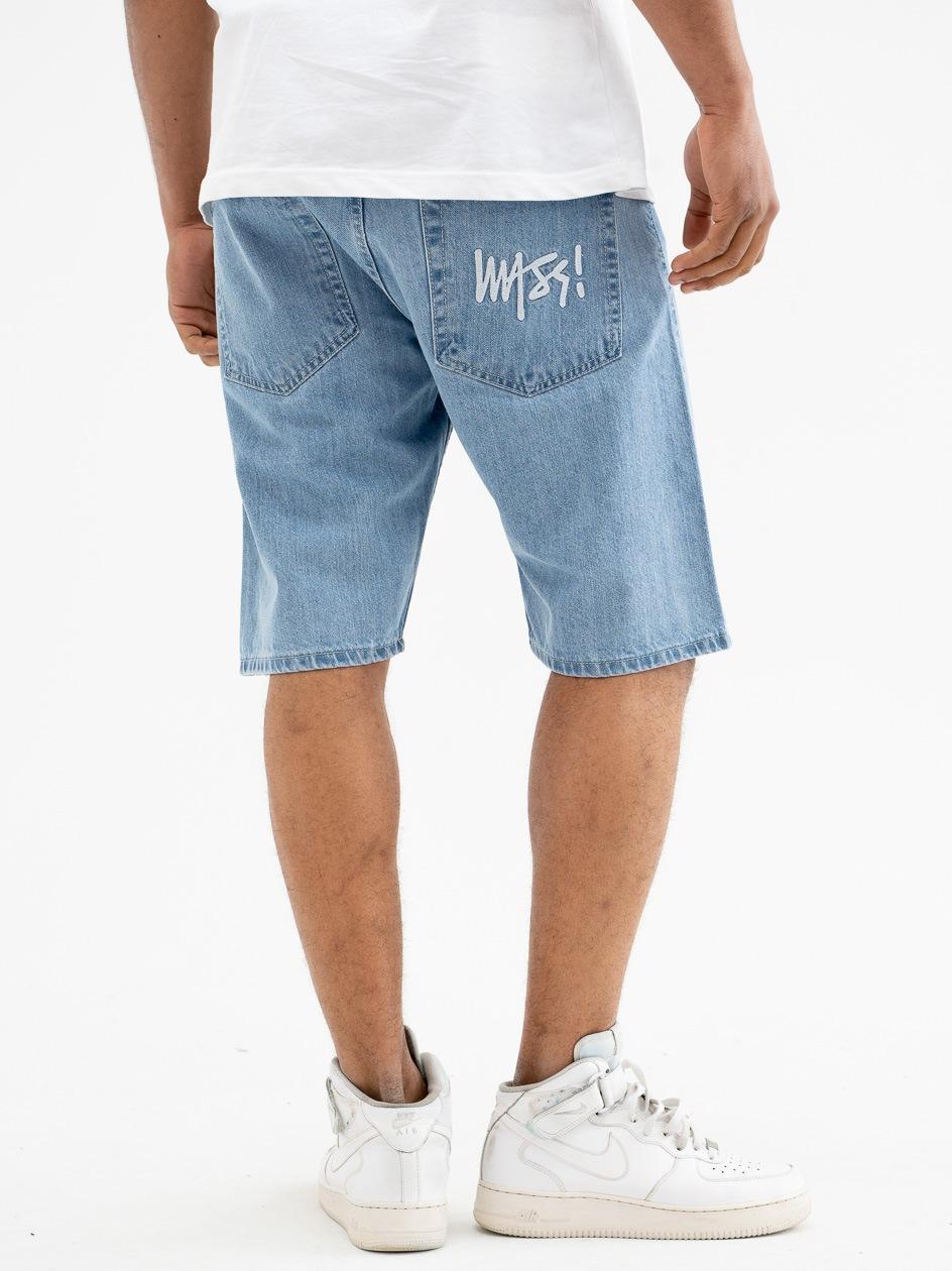 Krótkie Spodenki Jeansowe Straight Mass Signature Jasne Niebieskie