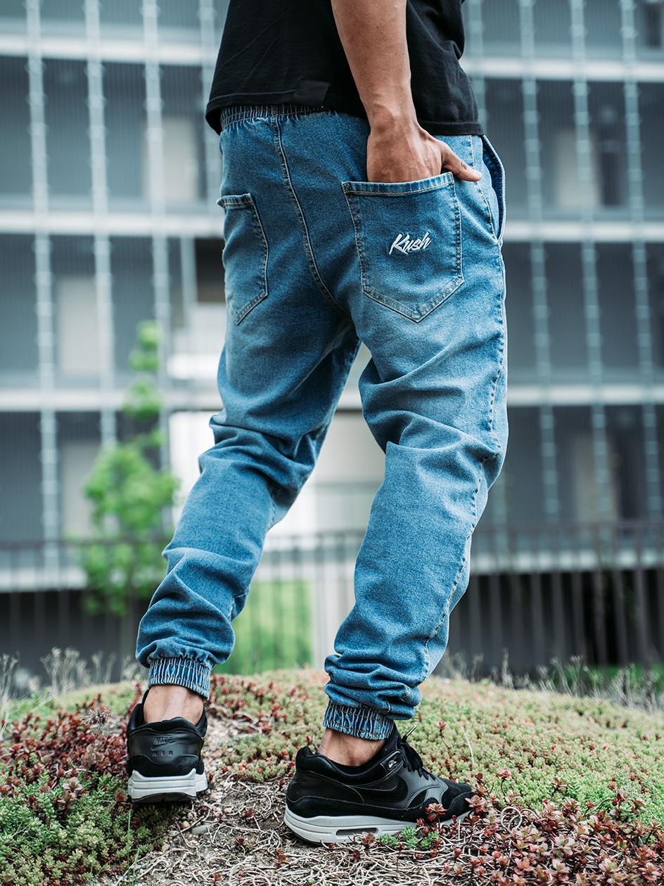 Spodnie Jeansowe Jogger Ze Ściągaczem Kush Logo Jasne Niebieskie