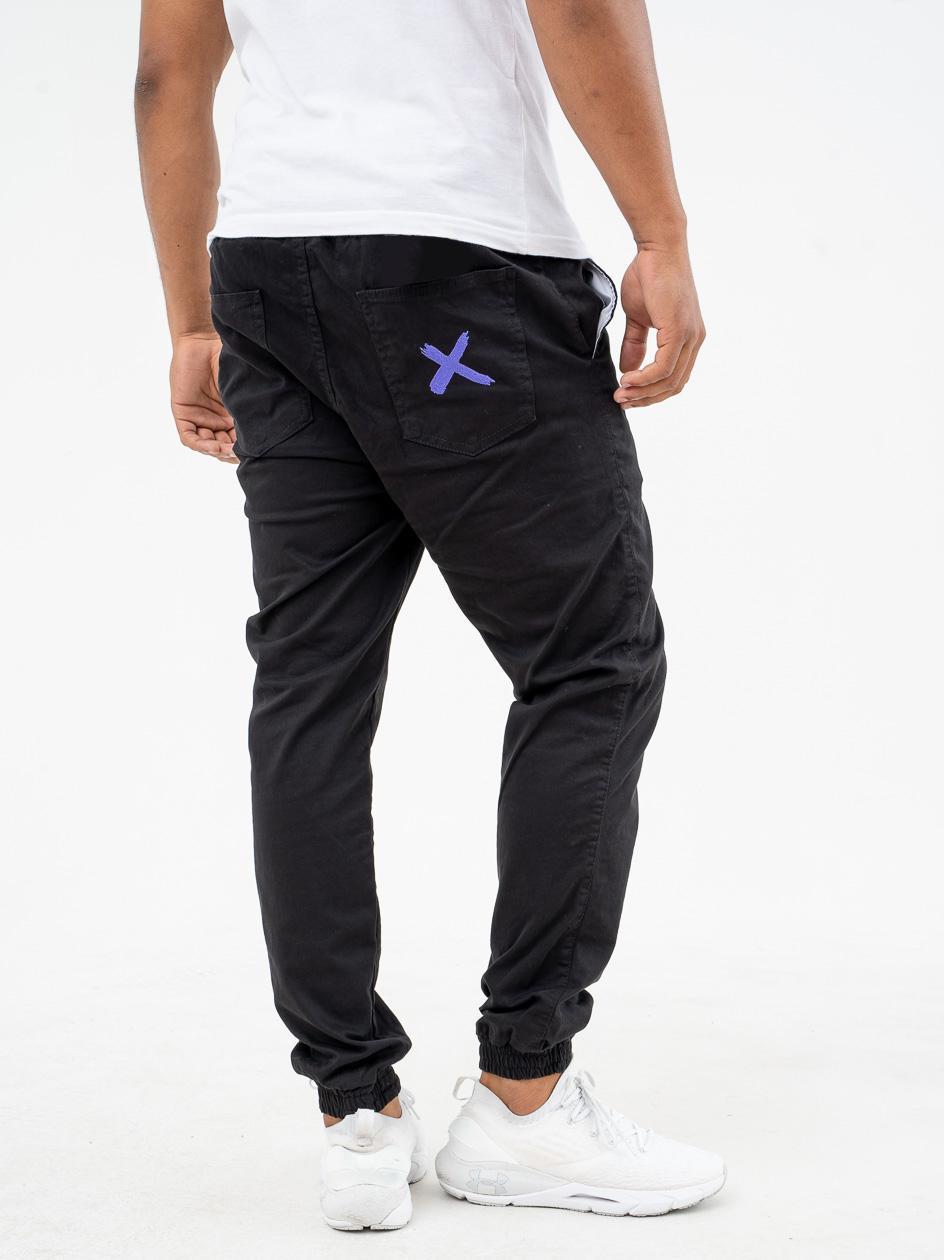 Spodnie Materiałowe Jogger Point X Pocket Czarne / Fioletowe