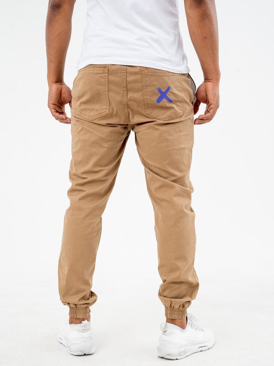 Spodnie Materiałowe Jogger Point X Pocket Beżowe / Fioletowe