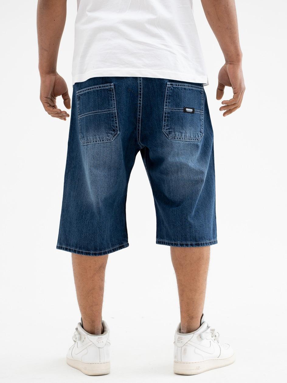 Krótkie Spodenki Jeansowe Ze Ściągaczem Mass Block Ciemne Niebieskie
