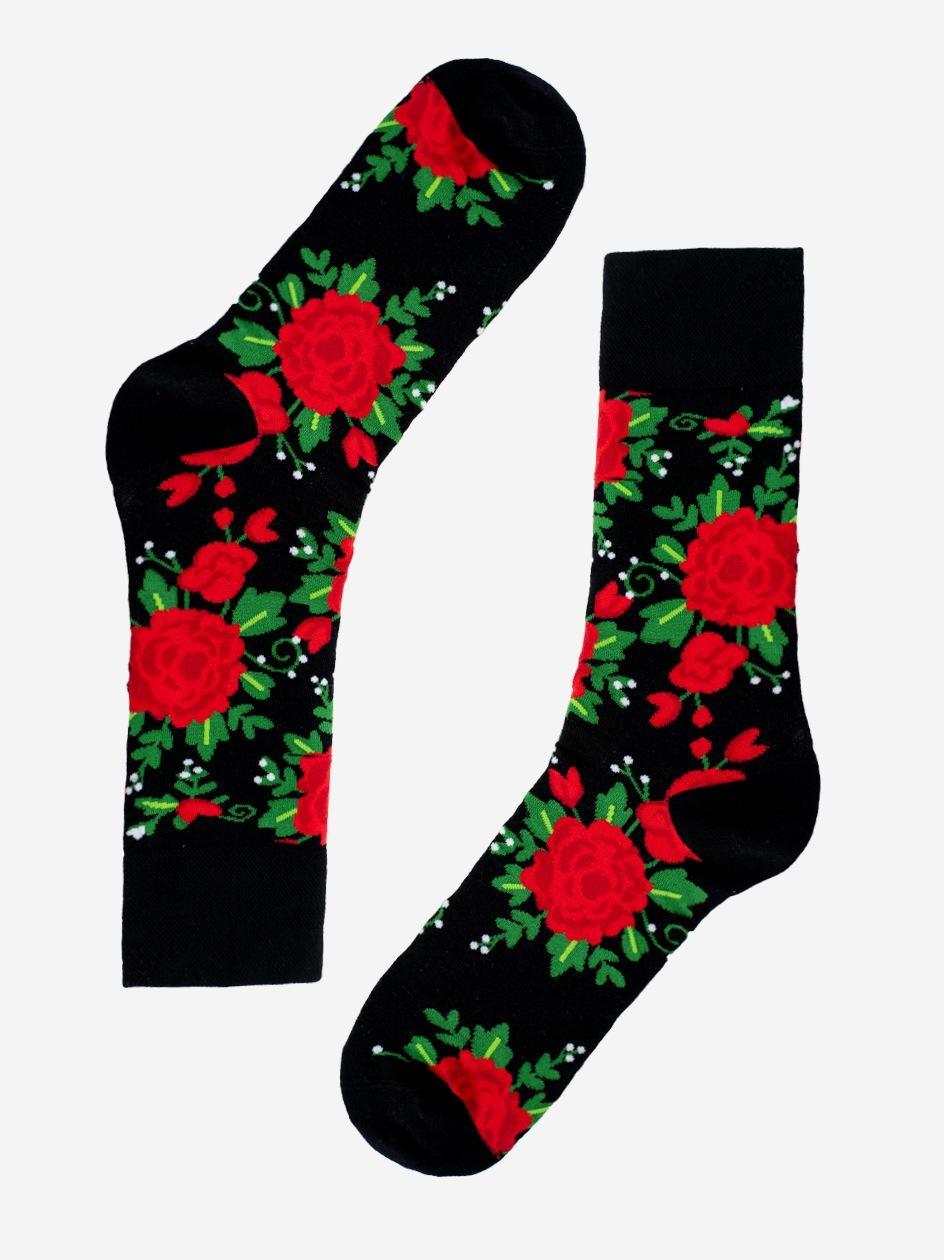 Długie Skarpety MyStars Flowers Czarne