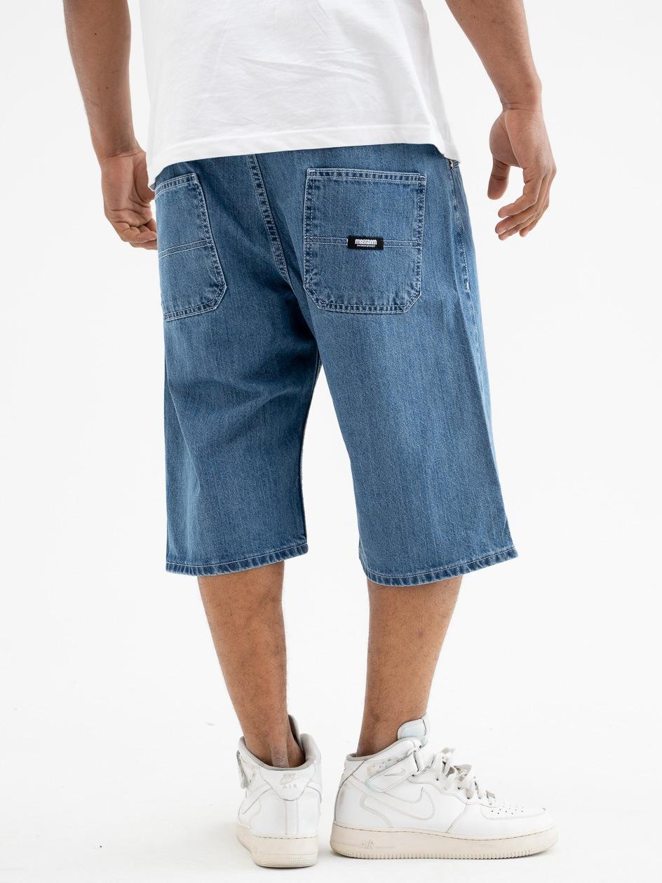 Krótkie Spodenki Jeansowe Ze Ściągaczem Mass Block Niebieskie