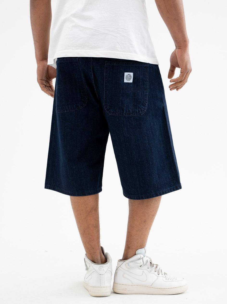 Krótkie Spodenki Jeansowe Baggy Mass Craft Ciemne Niebieskie