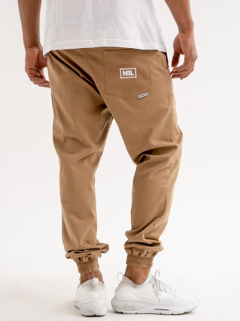 Spodnie Materiałowe Chino Jogger Ze Ściągaczem New Bad Line Icon Brązowe
