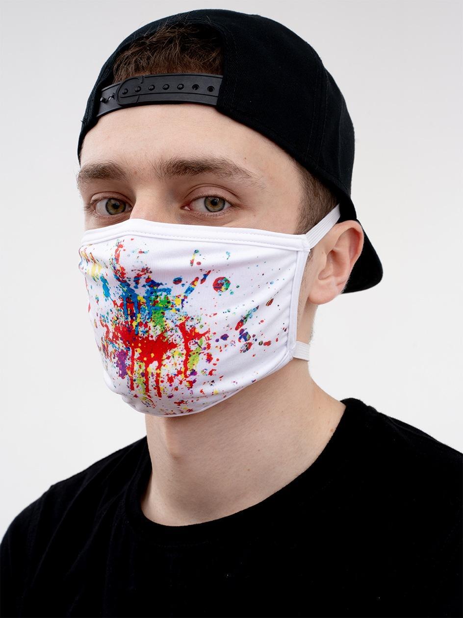 Maska Streetwearowa Fatninja Sprayed Biała