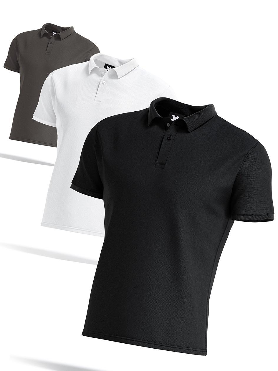 Zestaw 3 Koszulek Polo Point X Base Czarna / Biała / Szara