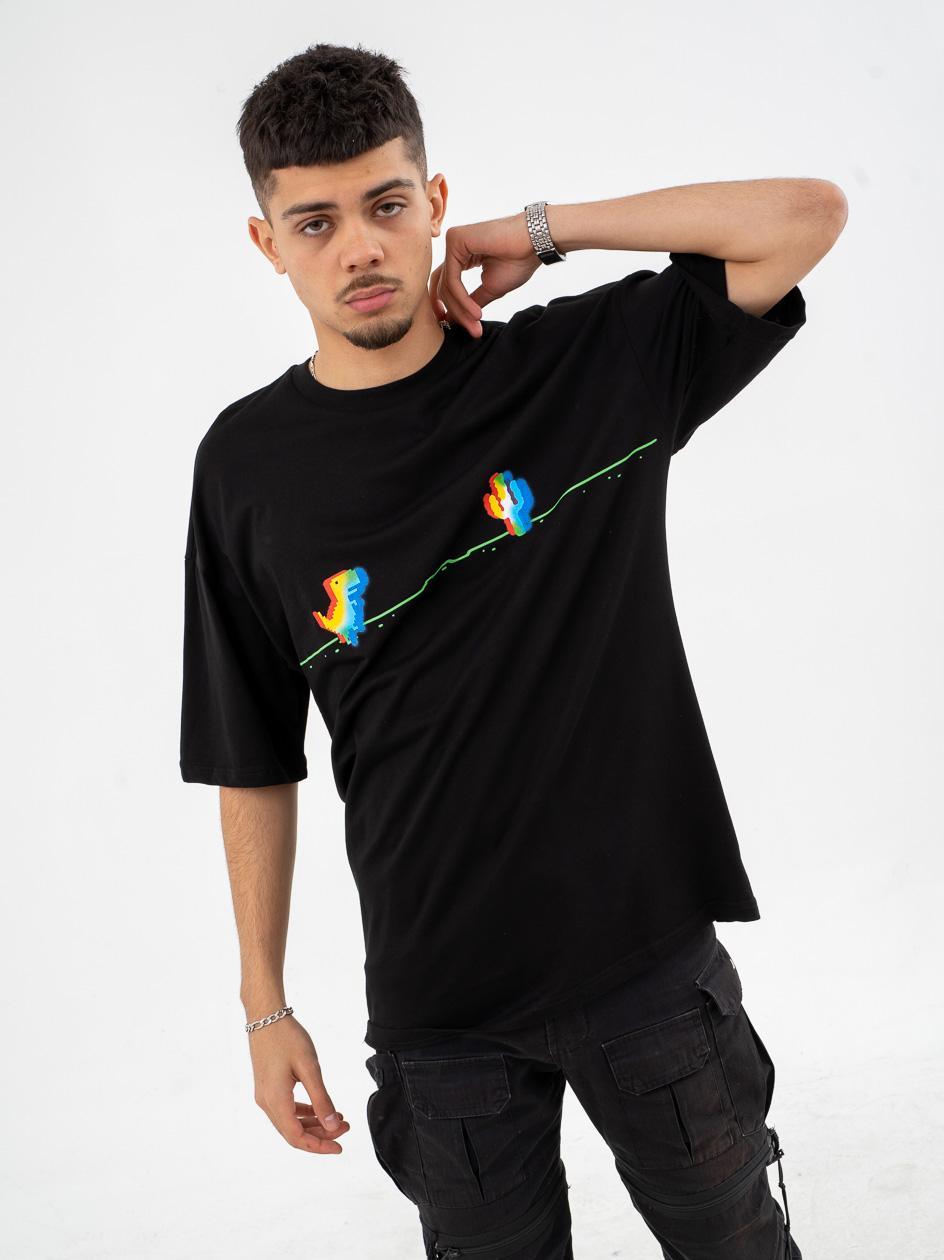 Koszulka Z Krótkim Rękawem Breezy Colorful Dinosaur Czarna