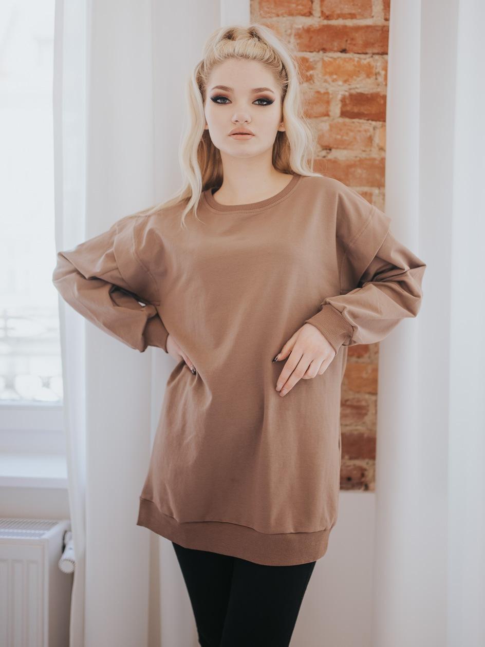 Damska Bluza Bez Kaptura Oversize Point X Sewn Sleeve Jasna Brązowa