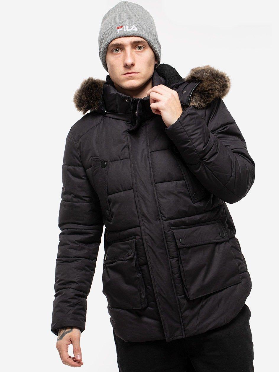 Faux Fur Hooded Jacket Black TB2430