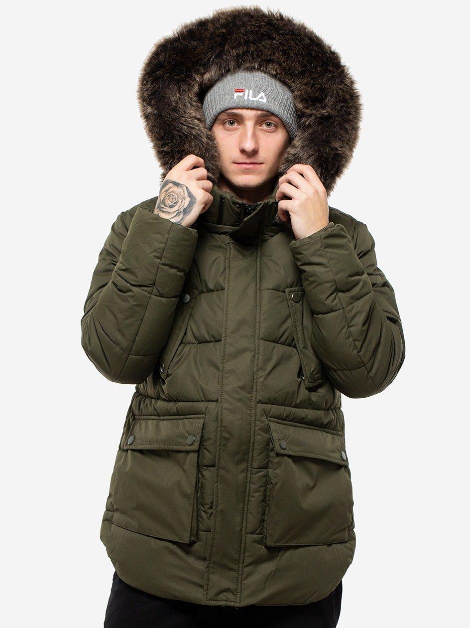 Faux Fur Hooded Jacket Dark Olive TB2430