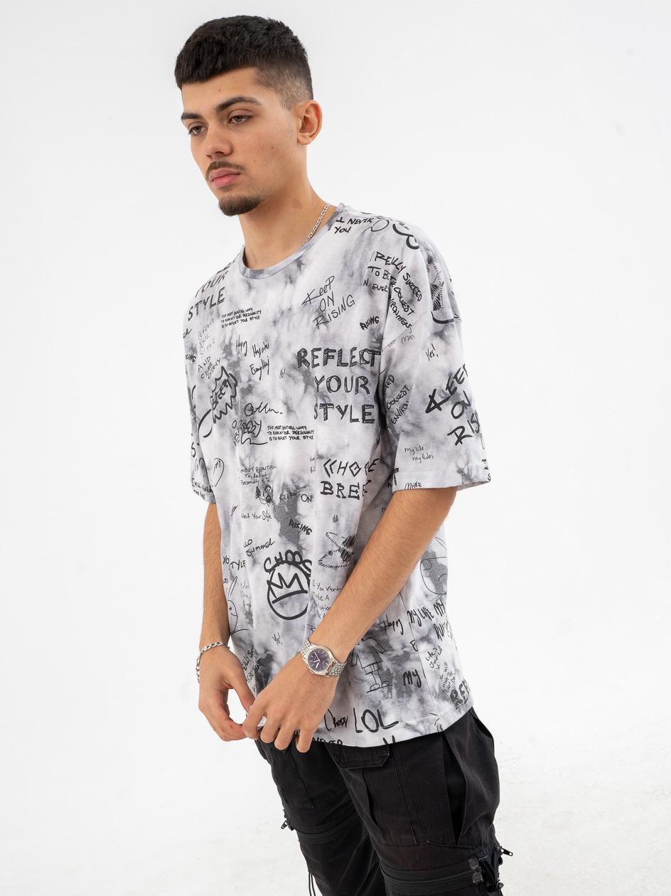 Koszulka Z Krótkim Rękawem Breezy Drawing Tie Dye Szara