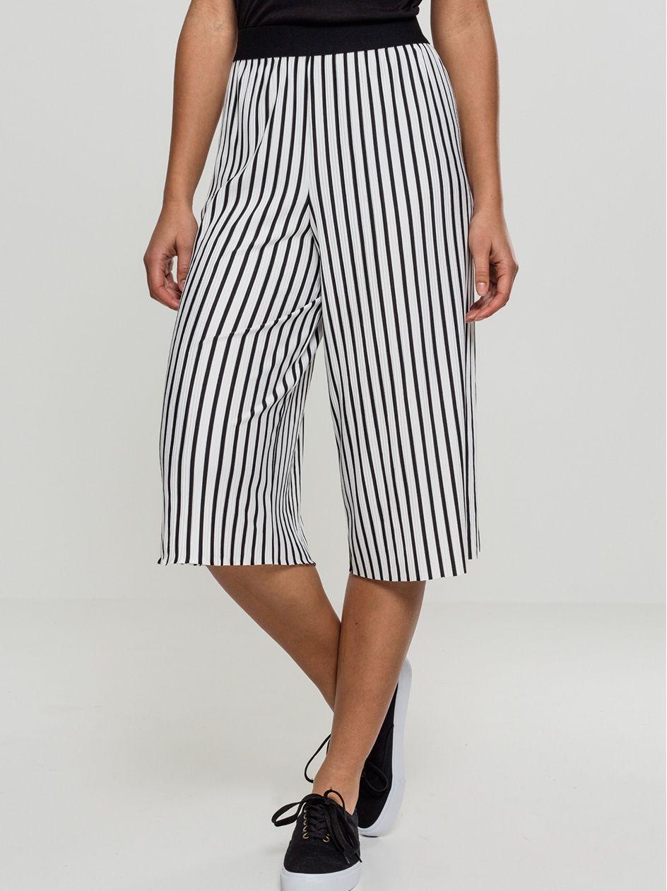 Ladies Stripe Pleated Culotte White Black TB1945