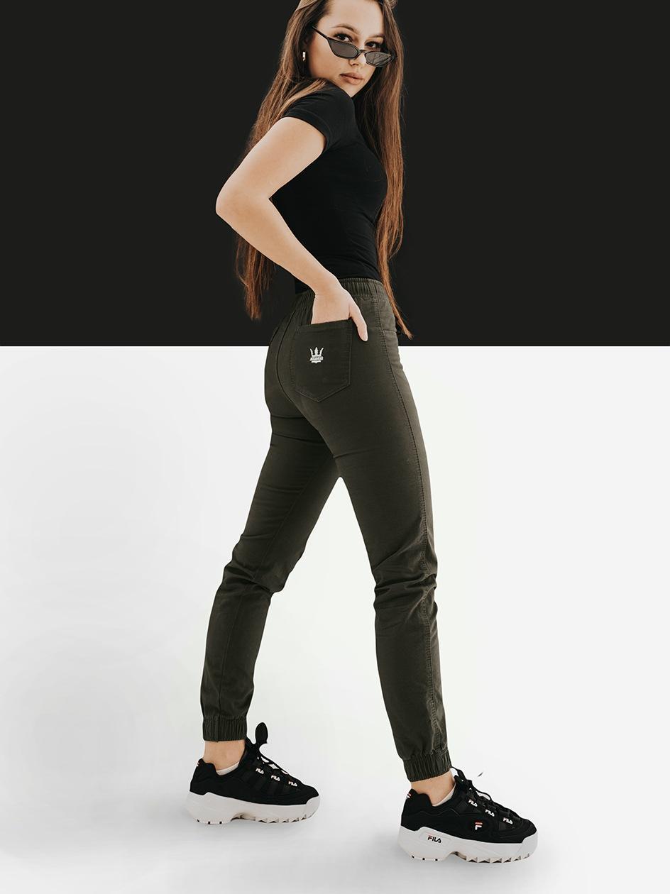 Damskie Spodnie Materiałowe Jogger Slim Jigga Crown Lady Oliwkowe
