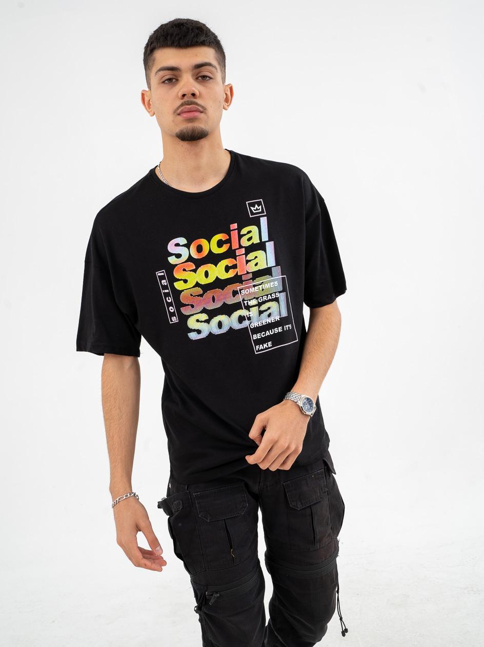 Koszulka Z Krótkim Rękawem Breezy Social Czarna