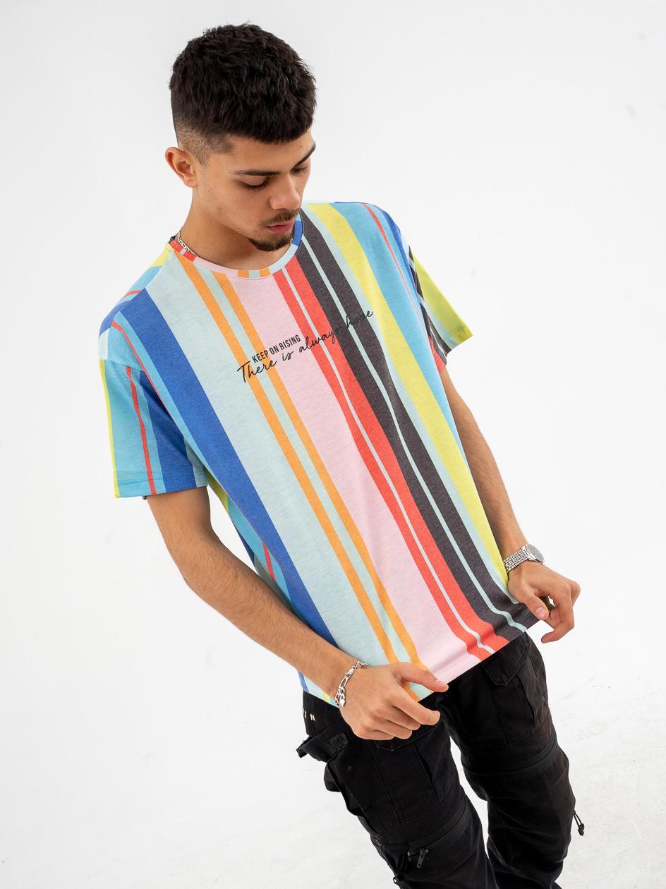 Koszulka Z Krótkim Rękawem Breezy Multi Stripes Wielokolorowa
