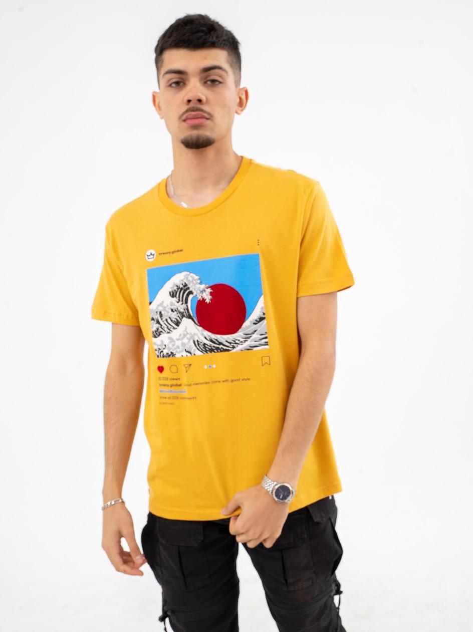 Koszulka Z Krótkim Rękawem Breezy Insta Musztardowa