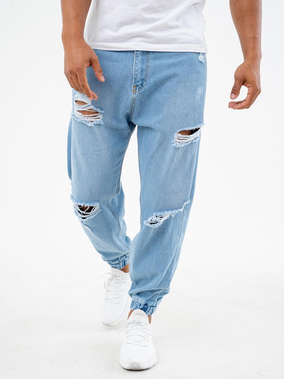 Spodnie Jeansowe Jogger Z Uszkodzeniami Breezy Damage Niebieskie