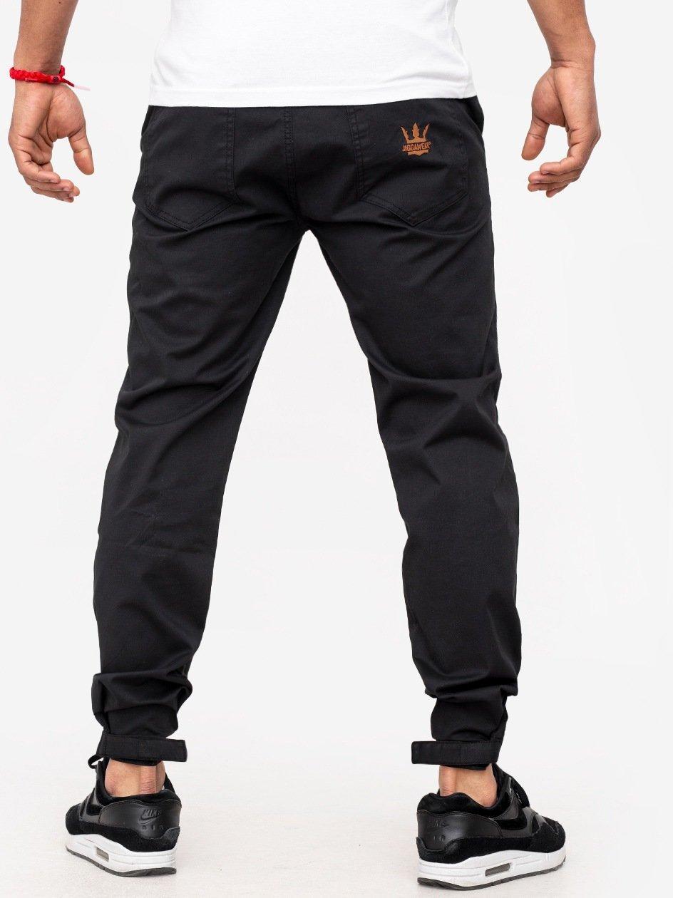 Spodnie Materiałowe Z Rzepem Jogger Jigga Crown Czarne Ze Złotym Logo