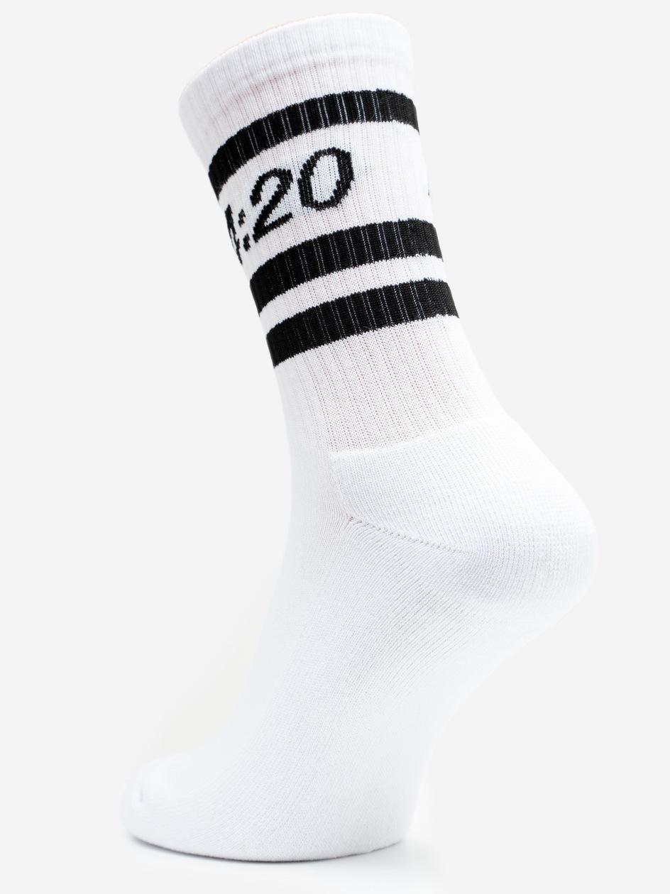Długie Skarpetki Kush 4:20 Białe / Czarne