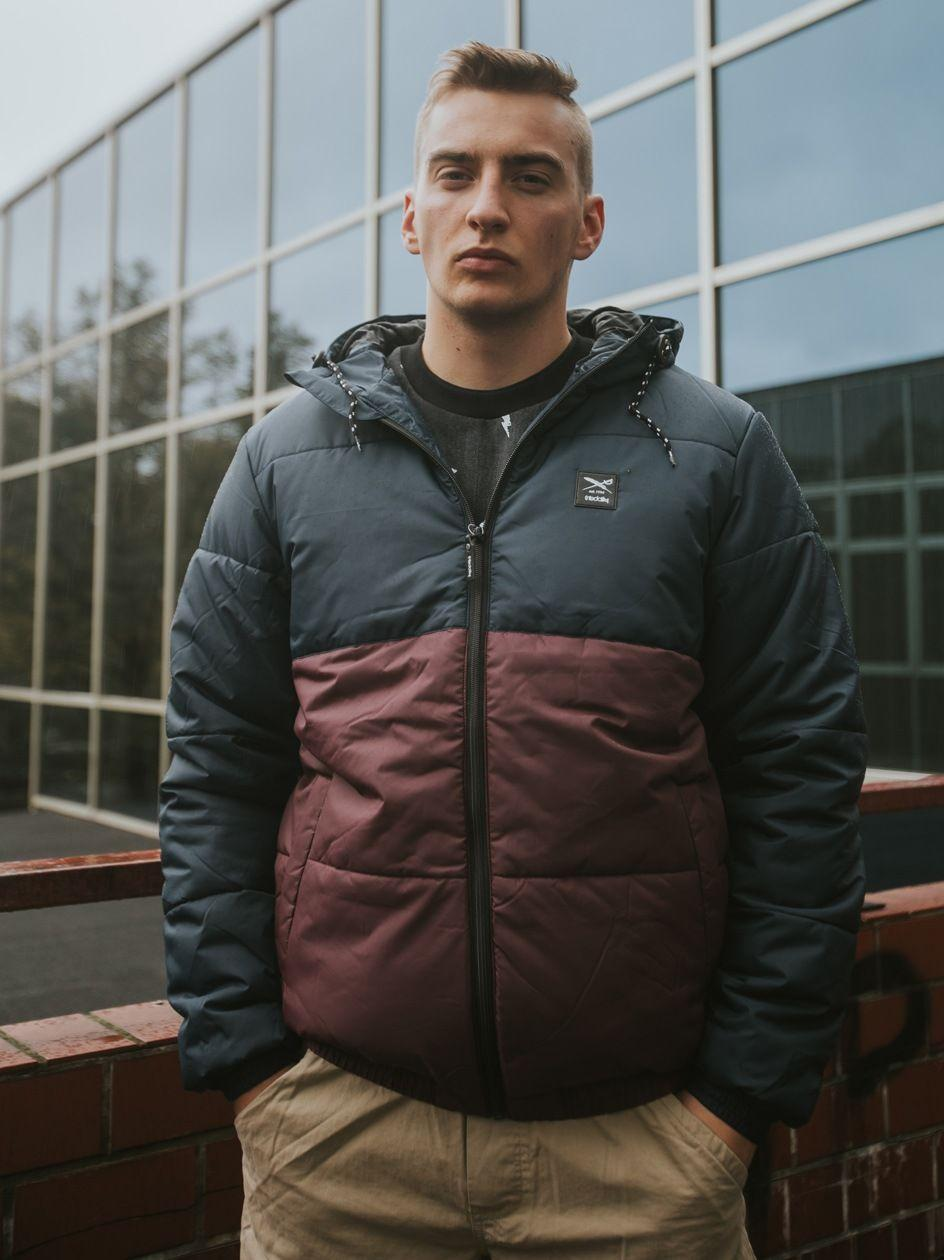 Stagger Hood Jacket Navy Red