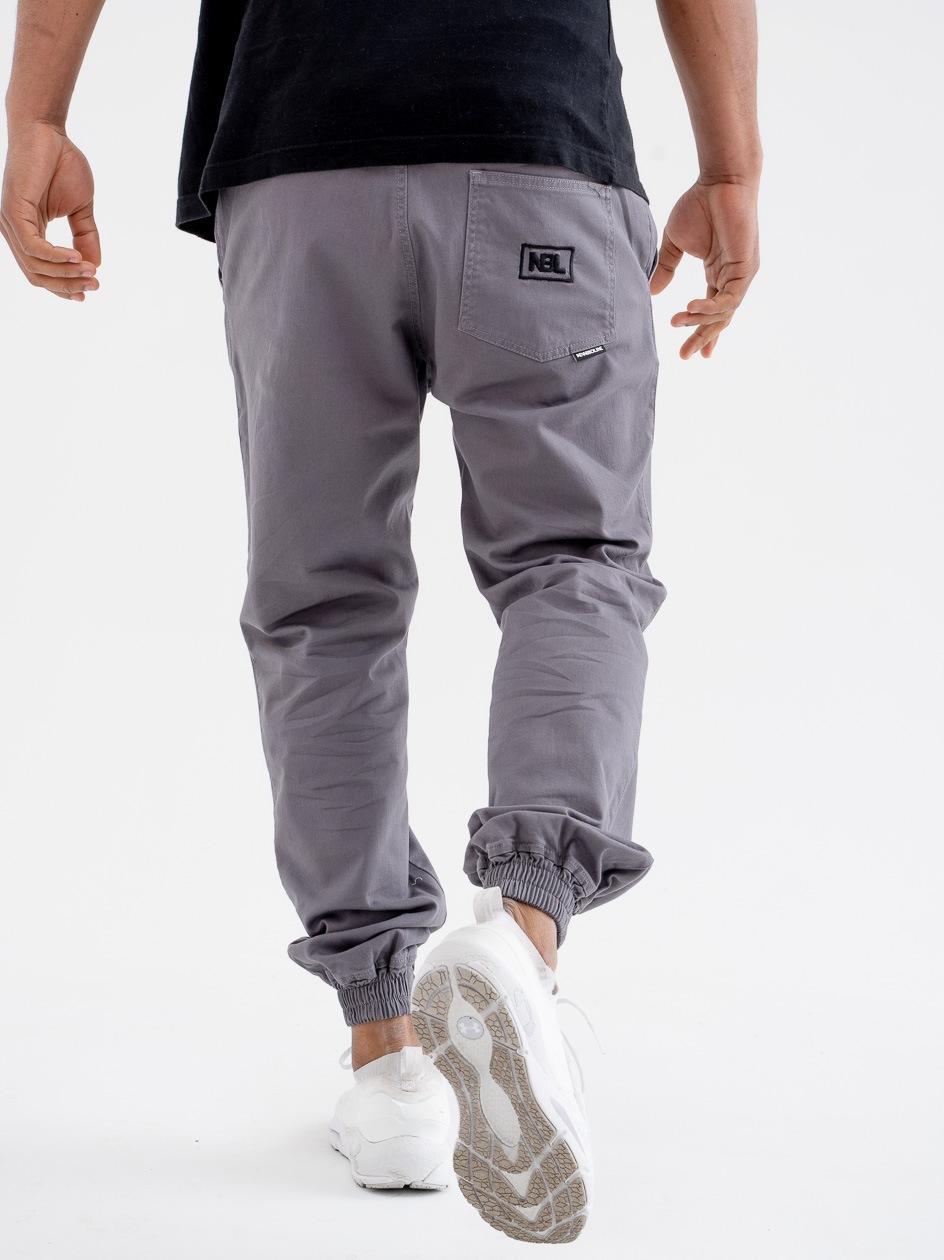 Spodnie Materiałowe Chino Jogger Ze Ściągaczem New Bad Line Icon Szare / Czarne