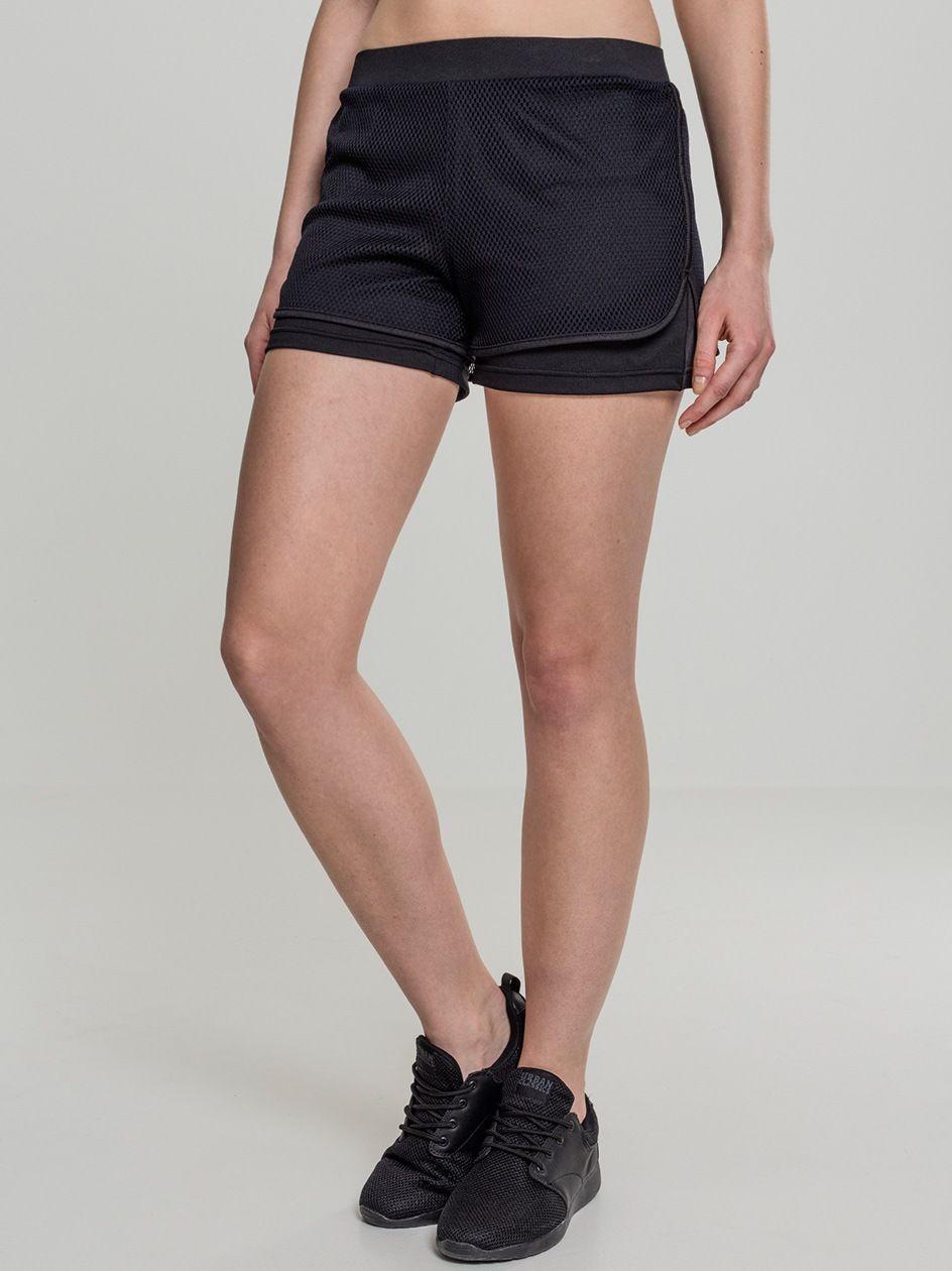 Ladies Double Layer Mesh Shorts Black TB2028