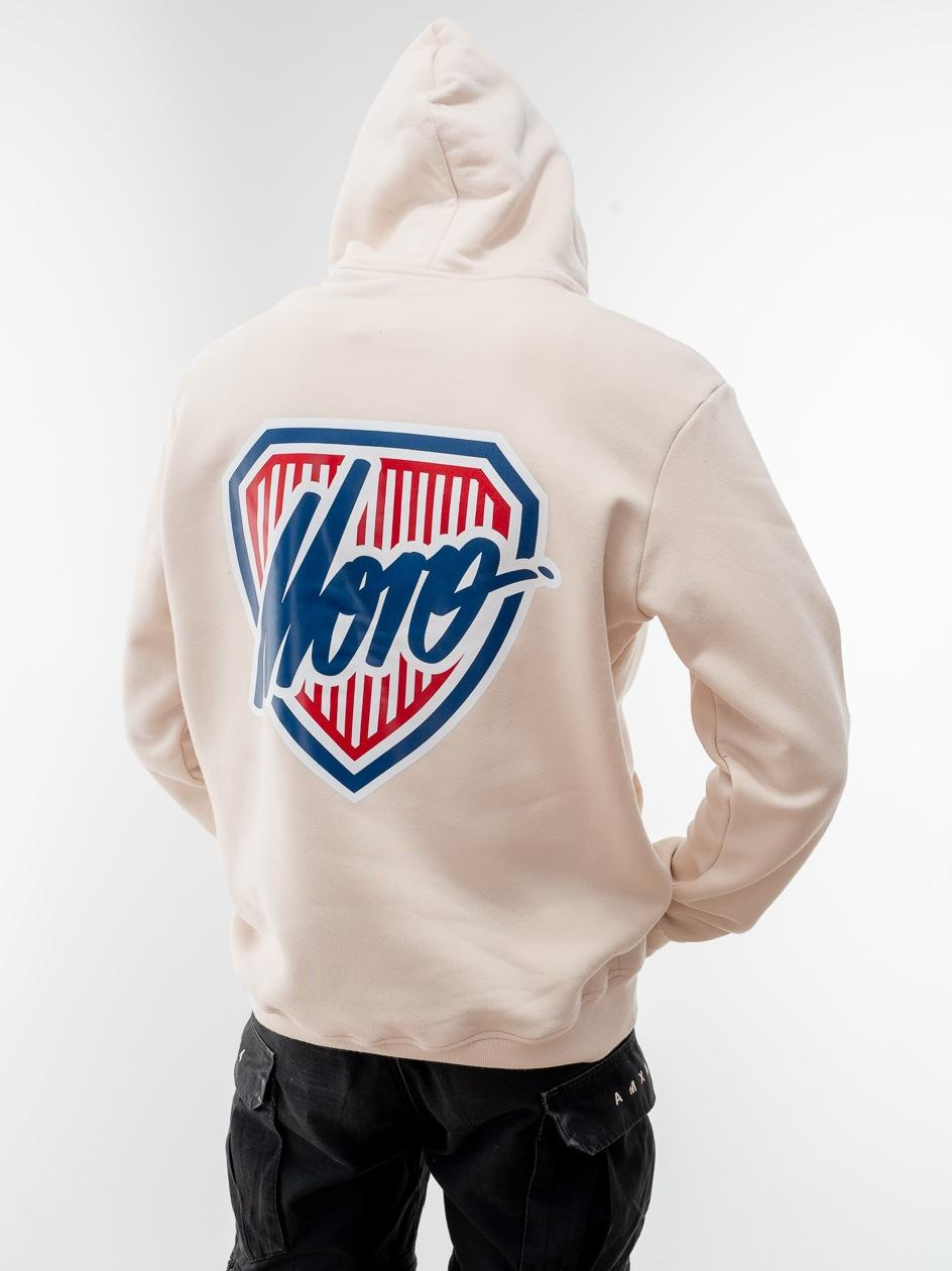 Bluza Z Kapturem Moro Sport Shield Slant Tag Pocket Beżowa