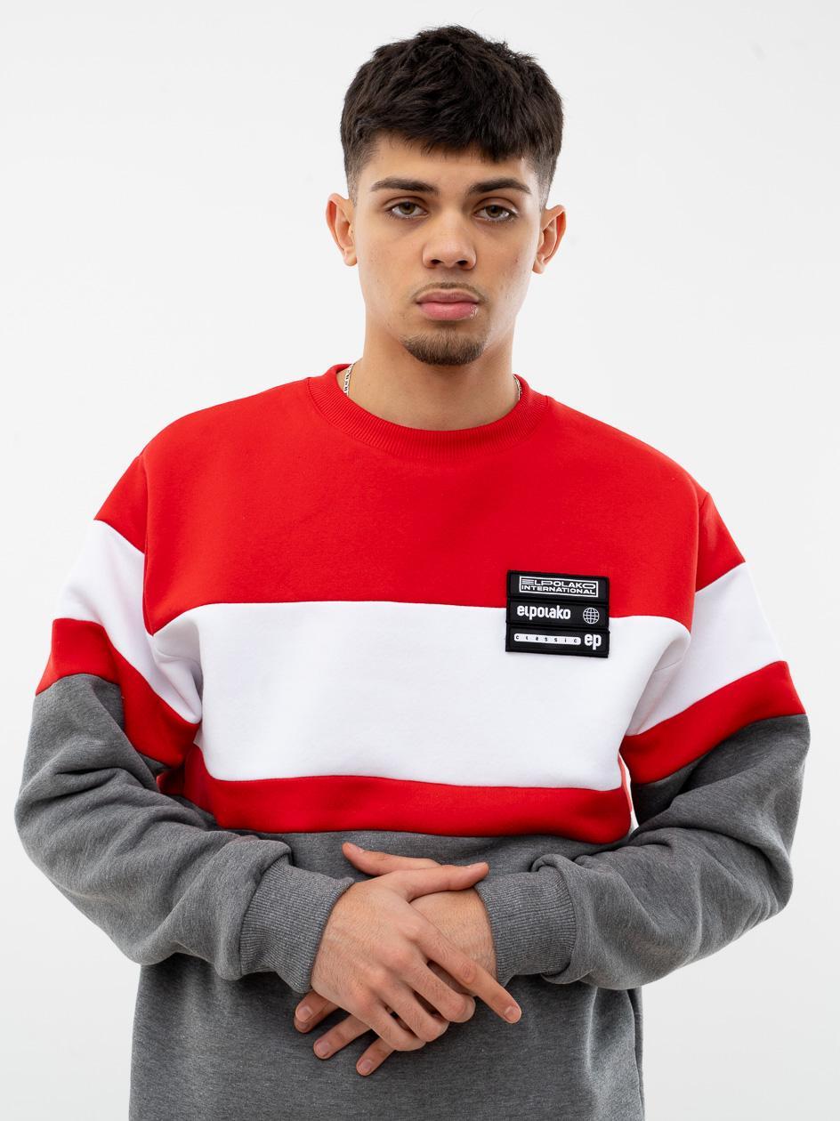 Bluza Bez Kaptura El Polako Horizontal Cut Czerwona