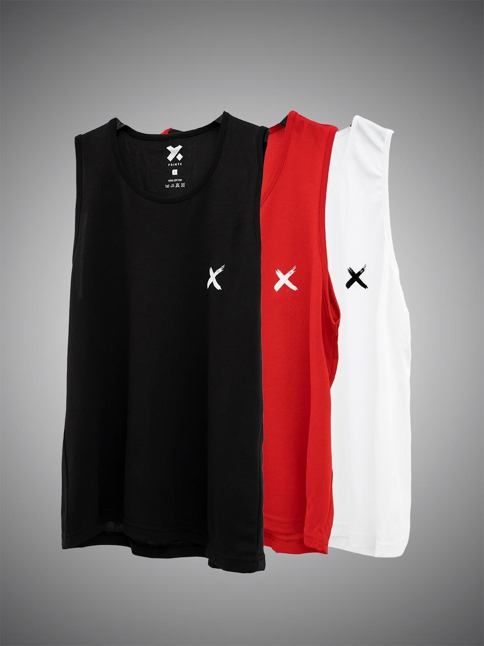 Zestaw 3 T-Koszulek Tank Top Point X Mini X Czarny / Biały / Czerwony
