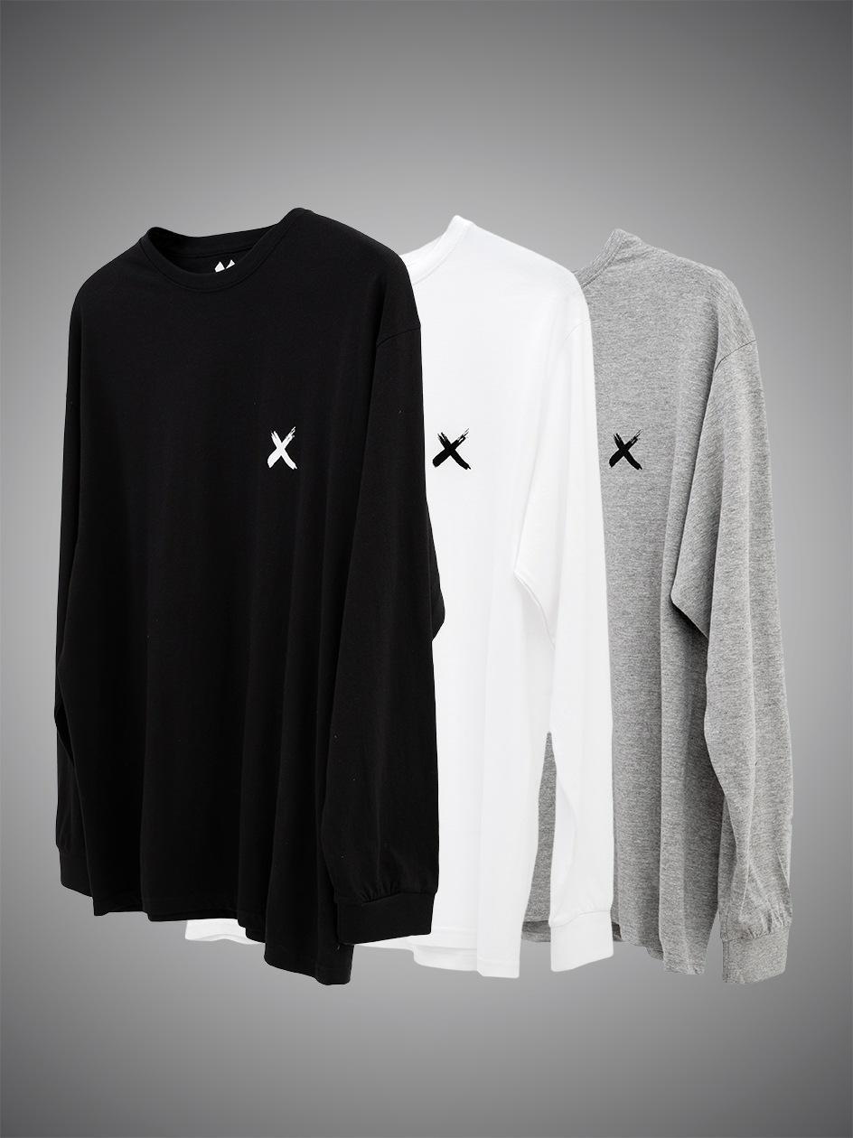 Zestaw 3 Koszulek Z Długim Rękawem Point X Mini X Czarny / Szary / Biały